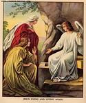Naiset haudalla, tyhjä hauta ja enkeli