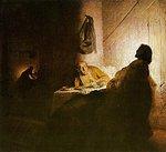 Illallinen Emmauksessa, Rembrandt, v.1628