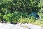 Joskus joutuu telttojen paikkaa etsimään useammastakin kallioisesta ja kivikkoisesta saaresta, mutta aina teltat o viimein saatu pystyyn.