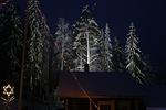 Myös pihapiiriä reunustava metsä on saanut juhlavalaistuksen. Etualalla näkyy Sementtiseimen yllä oleva tähti.