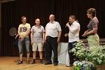 Mika Hakkarainen esitteli muut Bluestown Lights yhtyeen jäsenet: vasemmalta Heikki Kervinen, Jokke Kari ja Pekka Kokkonen.