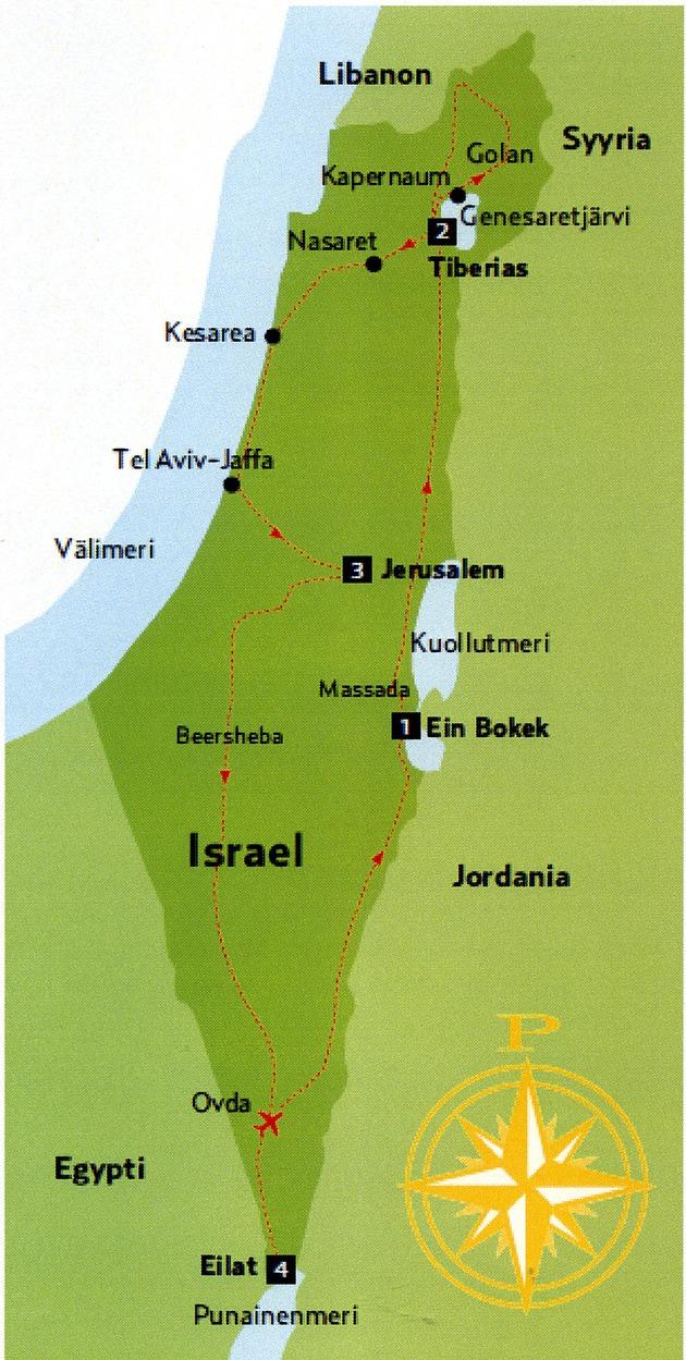 Israelin Kiertomatkan Reitti Kartalla