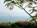 Näkymä Vuorisaarnan vuorelta alas Gennesaretin järvelle eli Kinneretille
