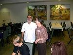 ...ja saimme kuulla Jaakov Damkanin kertovan järjestön työstä juutalaisten keskuudessa, oikealla Marketta Juutilainen
